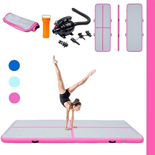 Triclicks 3m Aufblasbare Gymnastikmatte Air Tumbling Track Turnen Matte Yogamatte Turnmatte Fitnessmatte Bodenmatte Trainingsmatten Sportmatratzen + Elektrische Luftpumpe (Rosa)