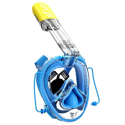 SFUN Schnorchelmaske Voll Gesicht Schnorchel Maske Vollmaske Antibeschlag für Erwachsene Kinder Tauchen Schnorcheln Schwimmtauchen Schwimmen (Blau)