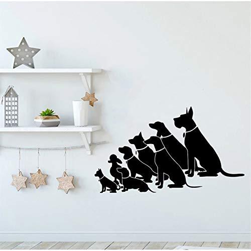 Decalcomanie da muro per cani in sedutaNegozio Adesivo da parete per salone di toelettatura Diverse razze di cani Vetrofania Decorazione della casa