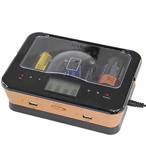 FISHTEC Caricatore di Pile Ricaricabili AA/LR6, AAA/LR3, C/LR14, D/LR20, 9V, NiCd e NiMh + ALCALINE - Schermo LCD con Indicatore di Carica - Caricatore universale capacità 4 pile + 2 porte USB