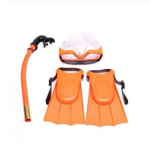 Molinter Kinder Schnorchel Set Tauchmaske Taucherbrille mit Schnorchel Silikon-Flossen Für Jungen Mädchen Junior Schnorchelausrüstung (Rot, Flossen Size:30-35)