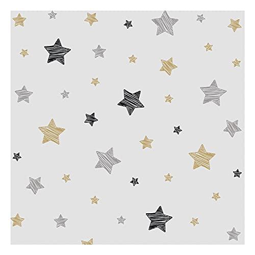 DON LETRA Papel Vinilo Adhesivo de Estrellas para Muebles y Pared de Habitación Infantil, 45 x 500 cm, Color Gris, VNL-097-5M