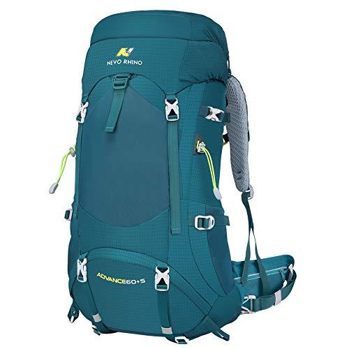 NEVO RHINO Hiking Backpack, 40L/50L/60L/70L/80L Waterproof Camping Backpacking Daypack (Green 65L, 60+5)