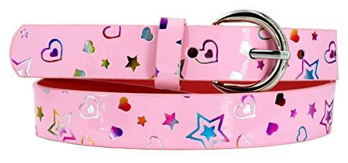 EANAGO Kindergürtel 'Glückskind' für Mädchen (Kindergarten- und Grundschulkinder, 5-10 Jahre, Hüftumfang 57-72 cm), Gürtelmaß 65 cm, rosa, mit bunten Herzen und Sternen
