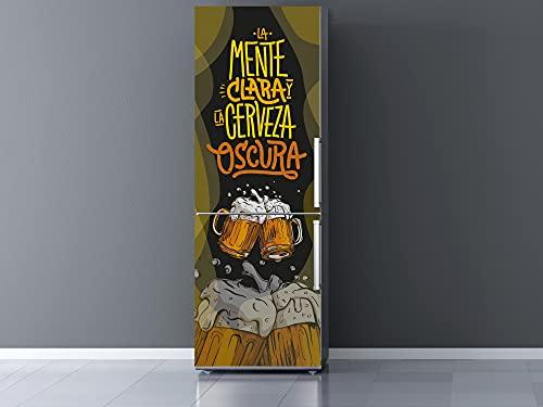 Oedim Vinilo Frigorífico Mente Clara Cerveza Oscura, Vinilo Decorativo para neveras, decoración para cocinas, Pegatina Nevera