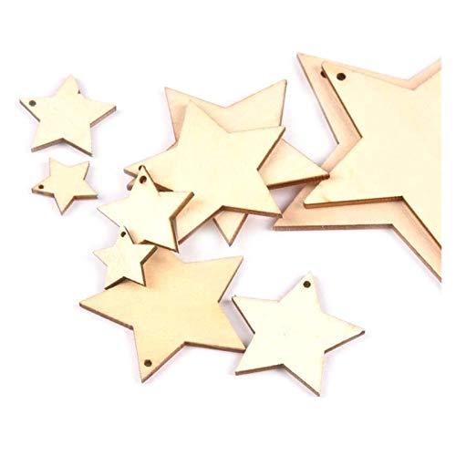 JINSUO NWXZU 50 stücke Mix Runde Form Natürliche hölzerne Verzierung für Scrapbooking DIY EIN Loch Handgemachtes Zubehör Home Decoration (Color : Star, Size : 40mm)