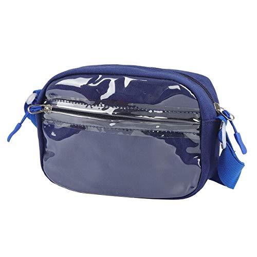 痛バッグ ショルダーバッグ 痛バ スモール 透明 ビニール バッグ 見せバッグ ポーチ 缶バッジ オタク 軽量 (ブルー)