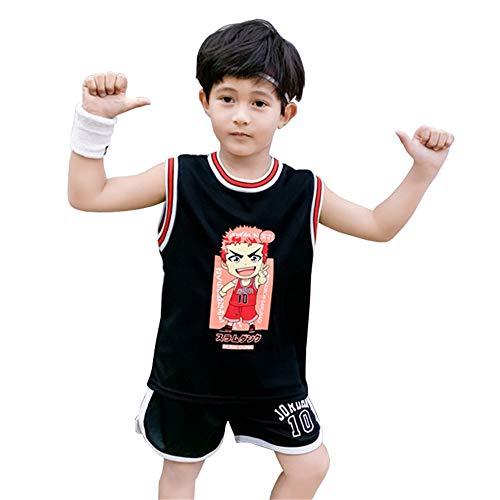 CURVEASSIST Kinder Basketball Trikots Sets Cartoon Genius # 10 Jordanien - Kinder Sommer Jungen Lässig Ärmellose Weste Uniform Sportswear Zweiteiliger Anzug,Black-120cm