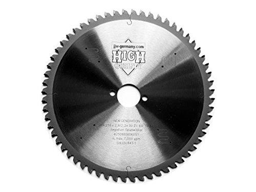 HM-Kreissägeblätter 216 x 30 negativer Spanwinkel für Kappsägen in Industriequalität (216 x 30 Z= 60 TF negativ)