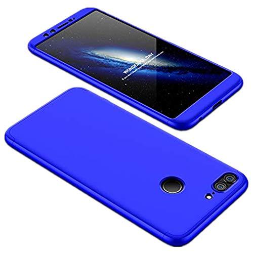 Funda compatible con Huawei P8 Lite 2017, diseño 3 en 1, carcasa rígida de PC para teléfono móvil de plástico mate, resistente al polvo, antigolpes, funda ultrafina azul Talla única