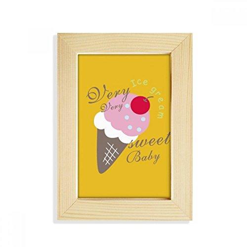 DIYthinker Cerise Sweet Baby crème glacée sucrée Bureau Cadre Photo en Bois Art Peinture 5X7 Pouces Convient 10.2 x 15.2cm (4 x 6 Pouces) Photos Multicolor