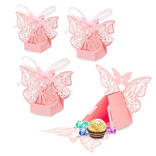 30 Set Rosa Schmetterling Süßigkeiten Schachtel für Hochzeit Taufe Gastgeschenk Geschenkbox Kartonage Schachtel Tischdeko Bonboniere Box,Kinder Party süße Boxen,Hochzeit Dekoration