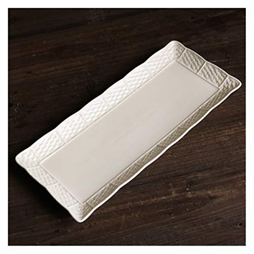 SRQOESFF Plato de Cena Placa de Cena Tejida de cerámica de cerámica de Color Blanco cremoso/Placa de Sopa/Placa de Postre Rectangular Hermosa (Color : Long Plate)