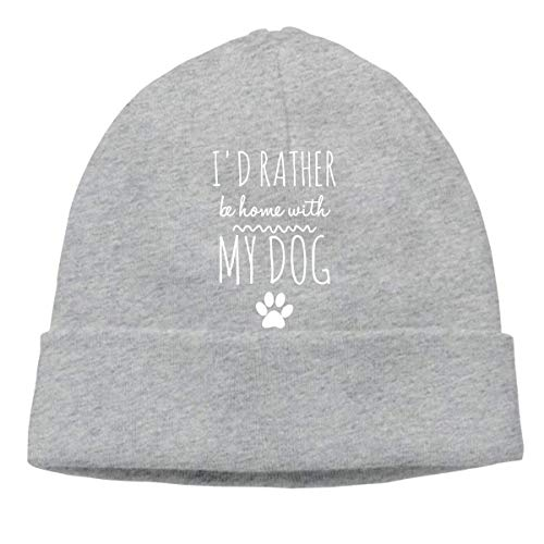 XCNGG Gorro de Punto Gorro de Lana Unisex I'D Rather Be Home with My Dog Knitted Hat, Daily Skiing Cap