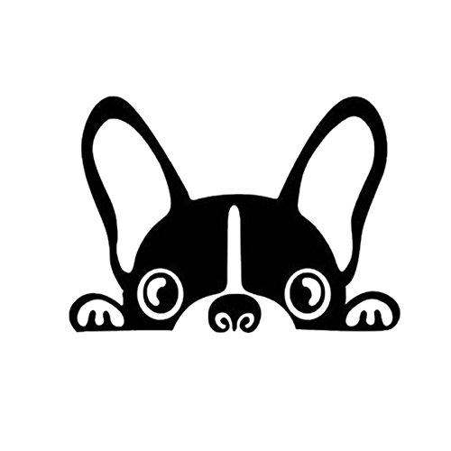 ZooooM 犬 ステッカー 車 カー用品 ワンちゃん 外装 カスタマイズ カスタム おもしろ 面白 格好いい かっこいい 簡単 カンタン デザイン シール 両面 テープ 貼るだけ かわいい 可愛い ペット (ブラック) (サイズ:15×9.2cm) ZM