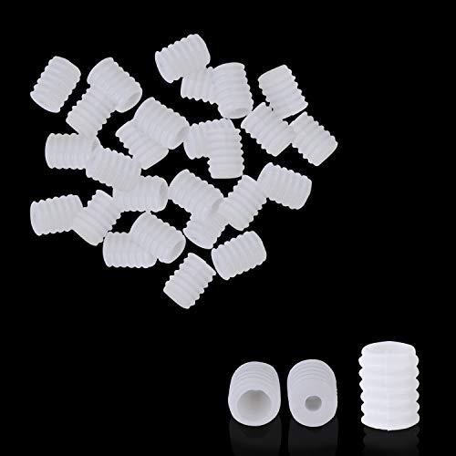 Trimming Shop Silikon-Kordelstopper, verstellbare Verschlussschnallen, rutschfest und langlebig für elastischen Kordelzug, Gesichtsabdeckung 50pcs Weiß (9 mm x 6,5 mm)