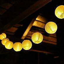 SALCAR 10m Solar LED Lampion Lichterkette Außen, 40er LED Lichterketten Garten Laterne Deko Lichterkette, Wasserdicht Solar Beleuchtung Aussen für Garten, Hof, Balkon, Hochzeit, Fest Deko - Warmweiß