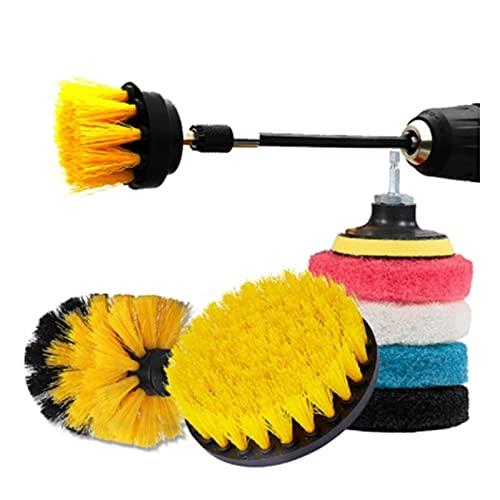 JIABIN Songz Store Pincel de Taladro eléctrico Ajuste para automóvil Limpio Power Scrubber Kit de Limpieza Padillas de Pulido Pinceles de Nylon Ajuste para la Rueda de automóvil Limpieza de Llantas
