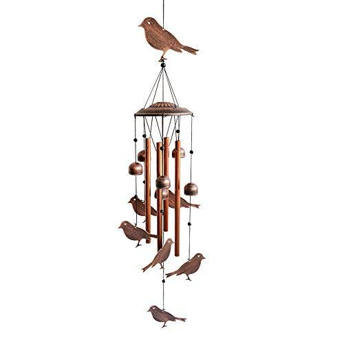 BLESSEDLAND Bird Wind Chimes-4 Hollow Aluminum Tubes -Wind Bells and Birds-Wind Chime with S Hook for Indoor and Outdoor