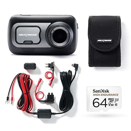 Nextbase 522GW Full 1080p / 60fps HD In Car Dash Cam Camera Bundle Kit with Window Screen Mount, Hardwire Kit, 64GB SD Card and protective case included