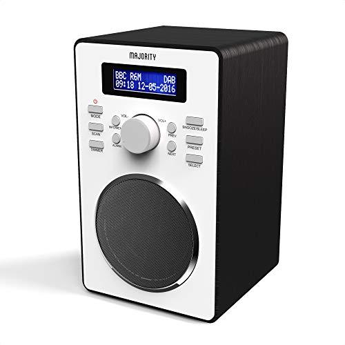 Majority Barton II DAB/DAB+ / UKW Digital-Radio, Retro Radio batteriebetrieben, Doppelwecker, Radiowecker, Weckeinstellungen, Schlummerfunktion und Sleep Timer, Kopfhörer-Anschluss