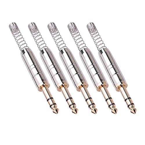 Kaxofang 5 Piezas 6.35Mm Conector de Audio EstéReo Amplificador Conector de MicróFono 6.35 Conector de Enchufe Macho de Soldadura de NúCleo de Segundo AAO