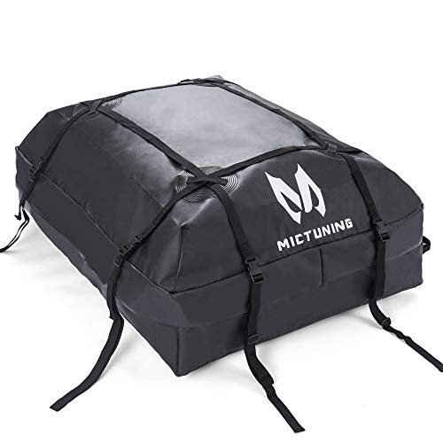 MICTUNING Rooftop Cargo Carrier Bag 15 Cubic Feet - Waterproof Car Top Carrier Roof Luggage Rack Storage Bag for all Vehicles with without Roof Rack (15 cu. ft.)