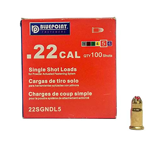 BLUEPOINT .22 Cal RED Neck Down Single Shot Powder Loads. (100 - Count). Item# 22SGNDL5.