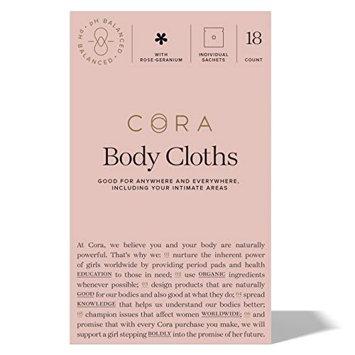 Cora Essential Oil Bamboo Feminine Wipes with Plant-Based pH Balanced Moisturizers - Individually...