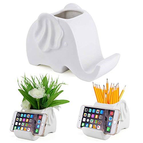 VasesPen Pencil Holder Phone Stand,White Ceramic elephant