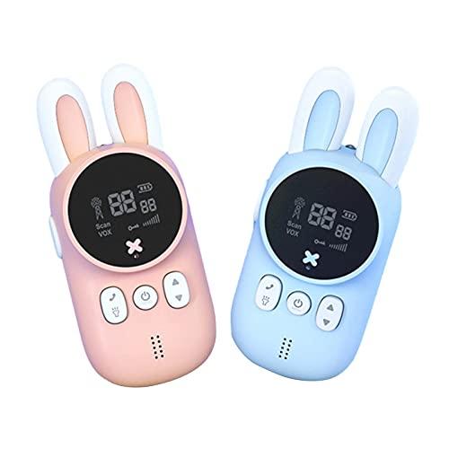 A/A Juguete de intercomunicador portátil inalámbrico Walkie-Talkie de Conejito para niños, 20 Canales, Rango de 3 km con Linterna de retroiluminación, Juego de 2 Piezas