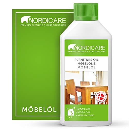 Nordicare huile pour bois [500ml] pour l'entretien de meubles – Huile incolore pour meubles en chêne, hêtre, noyer, mélèze – vernis pour bois, à base d'huile de lin