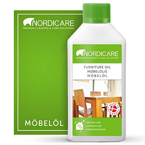 Nordicare Holzöl 500ml zur Pflege. Möbelöl farblos für Eiche, Buche, Nussbaum, Lärche. Holzlasur auf Basis von Leinöl. Leinölfirnis