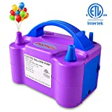 chamvis Electric Balloon Pump Dual Nozzle Inflator Blower for Balloon Column Stand, Party Balloon Arch Kit Decoration US Standard Plug 110V(Purple)