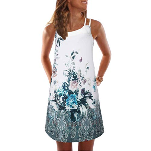 Lulupi Damen Neckholder Ärmelloses Minikleid Boho Geblümtes Kleid Freizeitkleid Beachwear Kleid Sommerkleid A Linien