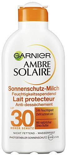 Garnier Ambre Solaire Sonnenschutz-Milch, LSF 30, feuchtigkeitsspendende Sonnencreme mit Shea Butter (1 x 200 ml)