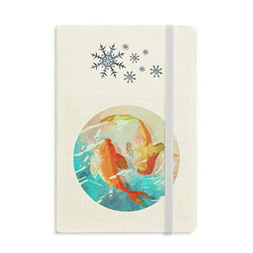 Rojo Koi Fishes Acuarela Japón Estilo Cuaderno Grueso Diario Copos De Nieve Invierno