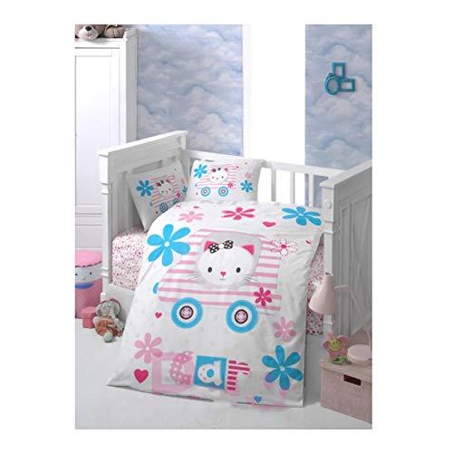 Nurdanil Juego de funda de edredón y funda de almohada de algodón con diseño de gato