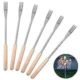 Mumusuki 6 Pack Wooden Handle BBQ Fork 26.5cm Roasting Stick Skewer for Camping Picnic Marshmallow...