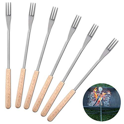 Mumusuki 6 Stück Holzgriff BBQ Fork 26,5 Zentimeter Braten Stock Spieß für Camping, Picnic Marshmallow Gabelgabel aus Edelstahl Schokolade Früchte Forks
