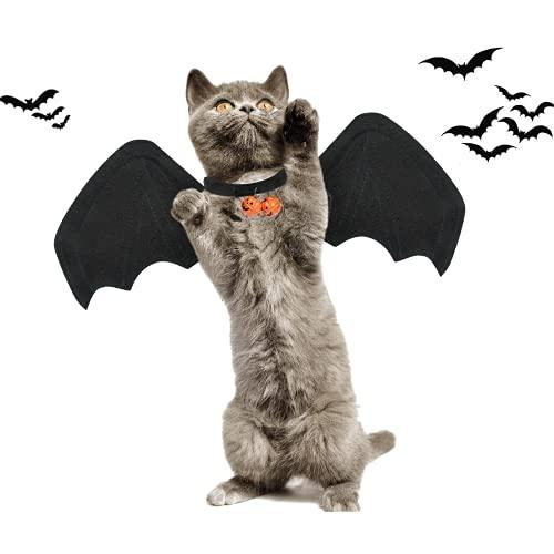 KATELUO Katze Bat Wings Kostüm, Katzen Fledermausflügel, Halloween Katze Kleidung, Katze Fledermaus Kostüm mit 2Pcs Pumpkin Bell für Haustiere, Hund Fledermaus Halloween Kostüm