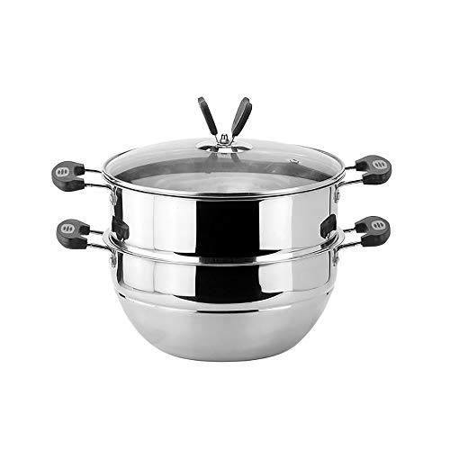 ChengBeautiful Vaporizador De Acero Inoxidable Acero Inoxidable de Doble Capa Multiuso Cocina del Vapor de la Caldera de Doble Capa for Todos Cooking (Color : Silver, Size : 31x26cm)