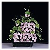Fengshop Árbol Artificial Chino Tradicional Creativo Bonsai Natural Rosa Cristal Jade UVA Artificial Bonsai for el hogar decoración Interior Jade Talla decoración Planta Falsa