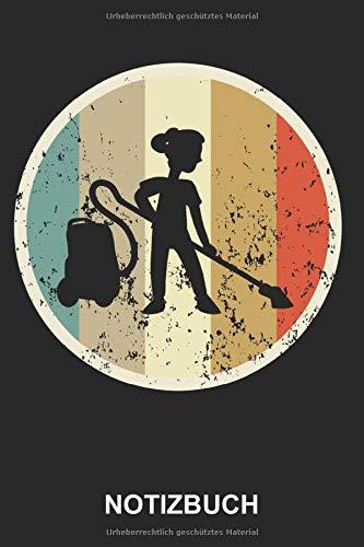 Notizbuch: Putzfrau Hausfrau Beruf Gebäudereinigung Staubsauger Reinigungskraft Staubsaugen Reinigung | Retro Vintage Grunge Style Tagebuch, ... | ca. A5 mit Linien | 120 Seiten liniert