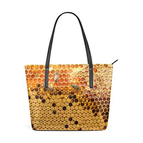 Top View - Bolso de hombro con diseño de panal con abejas, color amarillo