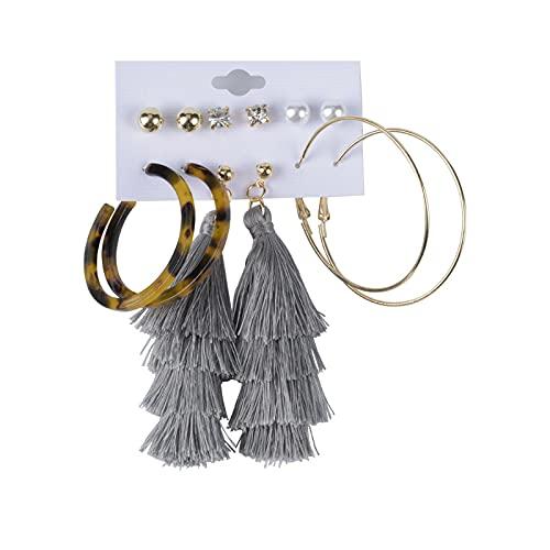 1 pieza de pendientes de perlas para mujer con borla de leopardo