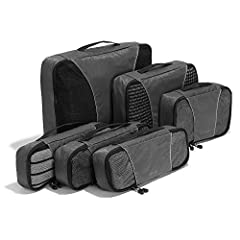 "INCLUDES 6 VARIOUS PACKING CUBES: 1 Large (17.5"" x 12.75"" x 3.25""), 1 Medium (13.75"" x 9.75"" x 3""), 1 Small (11"" x 6.75"" x 3"") and 3 Slim (2.8"" x 14"" x 5"") SUPERIOR QUALITY: Highest construction standards utilized, making it a customer-favorite, pack..."