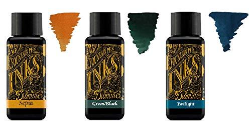 Diamine Tinta de Pluma Estilográfica 30ml - 3 x Botellas - Sepia, Green Black, Twilight