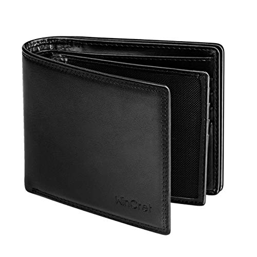 WinCret RFID Schutz Geldbeutel Herren - Hochwertigem Echt-Leder Geldbörse Männer im Querformat mit Großen Münzfach ID-Fenster und 14 Kartenfächer - Extra Geräumiger Portemonnaie