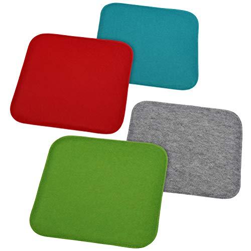com-four® 4X Gepolsterte Stuhlkissen - Sitzkissen für Stühle und Bänke - Eckige Sitzpolsterauflage für Esszimmer, Garten, Trasse, Balkon (4 Stück - eckig)